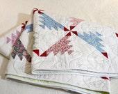 "Patchwork Pastel Quilt, Double Bed Quilt, Vintage Inspired 72""x79"", Cotton quilt"