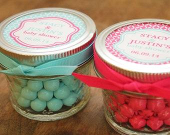Set of 24 - 4 oz Mason Jar Baby Shower Favors - Modern Label Design - Bridal Shower Favors, Wedding Favors, Party Favors