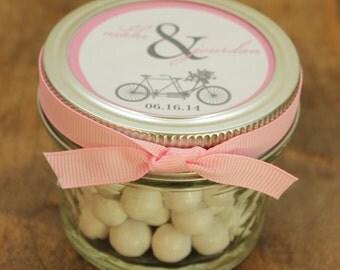 Set of 24 - 4 oz Mason Jar Wedding Favors - Tandem Bike Label Design - Bridal Shower Favors, Baby Shower Favors, Personalized Mason Jars