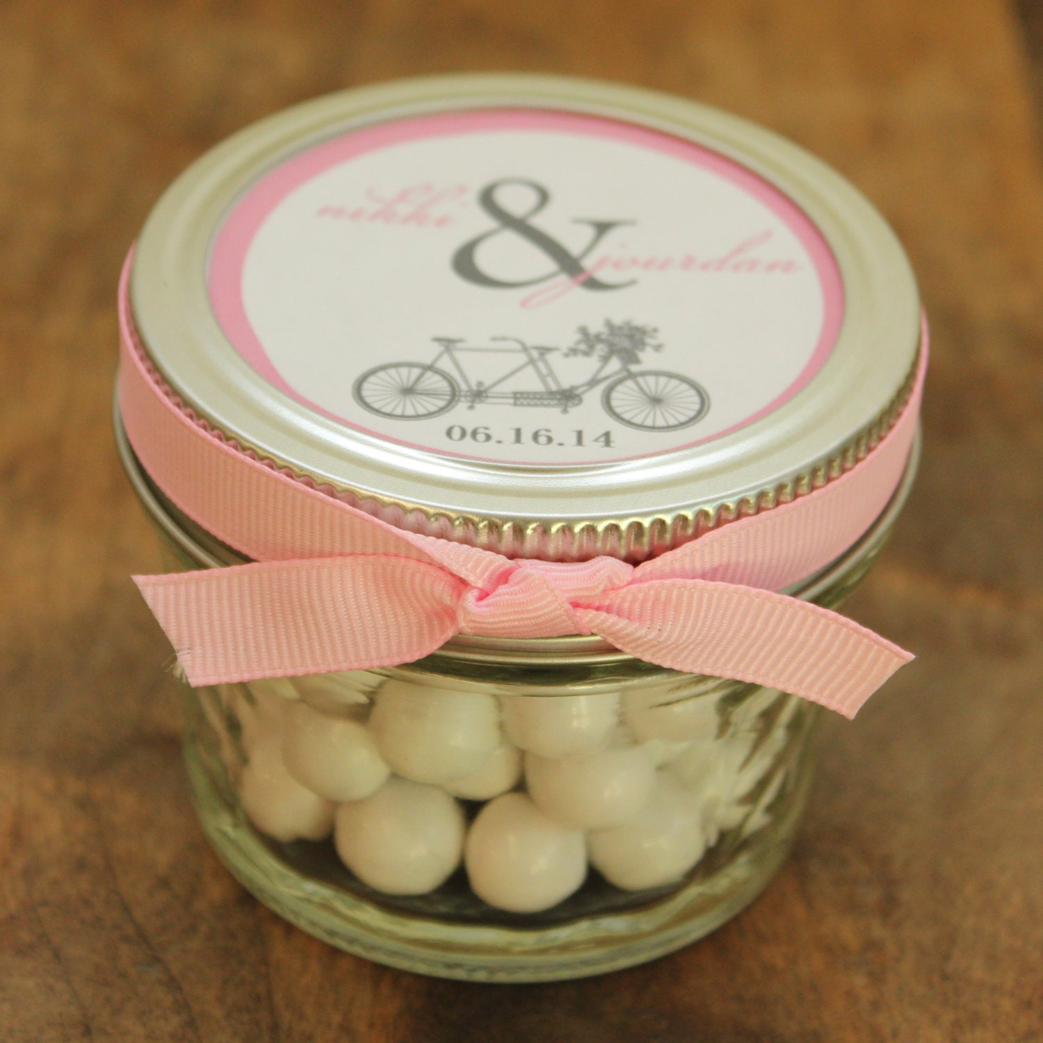 mason jar wedding favors tandem bike label design zoom
