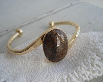 Vintage Gold and Bronzite Cuff Bracelet Autumn Fall Woodland Earthtones