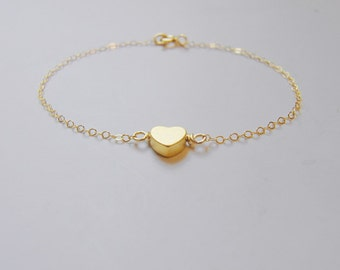 Je T ' aime  Sole heart (bracelet) - Small 14k gold plated puffed heart & Gold-Filled