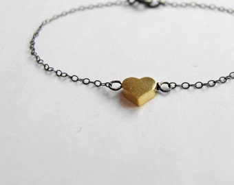 Je T ' aime Sole heart (bracelet) - 14k gold plated puffed heart & oxidized sterling silver