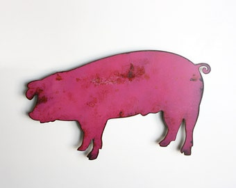 "Pig metal wall art - 15"" wide pink swine - wall hanging pig - pink with rust accents patina - pig art"