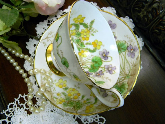 1947 Tuscan Tea Cup and Saucer - Alpine Flowers - Made in England 9333