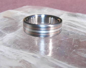 NEW Titanium Silver Solstice accent 14k  Ring Wedding Band