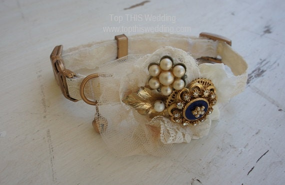 Brooch and Lace Wedding Dog Collar and Leash