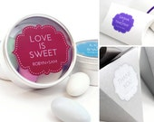 """Wedding Stickers - 100 clear personalized decals - 1.75"""" x 1.5"""" customizable transparent wedding favor packaging labels"""