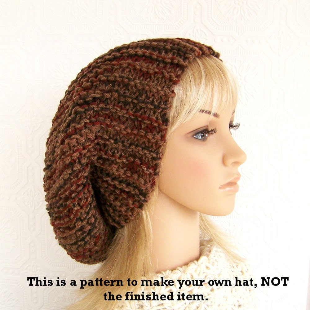 Adult Knit Hat Pattern : Instand download knit hat pattern adult slouch hat diy