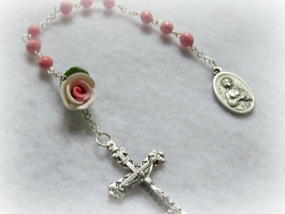 St.Cecilia clay bead and rose chaplet