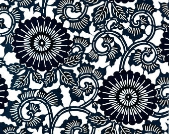 Japanese Katazome Paper - Blue Spiral Flowers