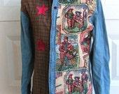 Denim Womens Embellished Shirt Size Small OOAK