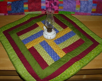 """Rail Fence Quilt / Doll Quilt / Quilt for 18"""" Doll / Primary Colors / Red, Green, Yellow Blue / Table Runner / Wall Hanging / Hand Quilted"""
