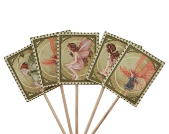 24 Once Upon a Springtime Tiny Treasures Party Picks, Toothpicks, Cupcake Toppers, Food Picks, Sandwich Picks - No961