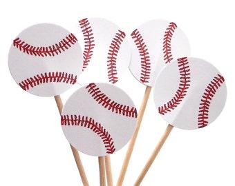 24 Baseball Cupcake Toppers, Food Picks, Sandwich Picks, Toothpicks, Baseball Theme Party Decor - No967