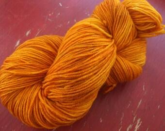 Tangerine Fingering Weight Merino and Silk Yarn