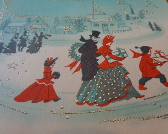 Glittered & Gorgeous 1940s Blank UNused Christmas/Winter card, a Christmas Eve walk, optional old greetings decals, place cards, OTHERS