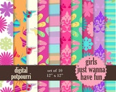 buy2get1 digital paper pack for scrapbooking, card making, printing - girls just wanna