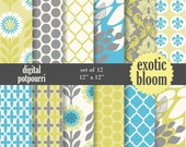 buy2get1 floral digital paper pack for scrapbooking, card making, printing - exotic bloom