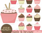buy2get1 cupcakes clipart set - pink and brown