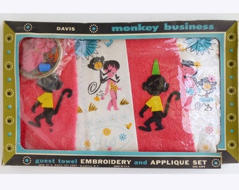 1960's TIKI Applique and Embroidery Towel set with Monkeys