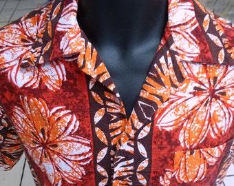1970's Tiki Barkcloth Hawaiian Shirt by Pomere - small
