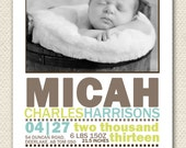 Custom Photo Birth Announcement- STATS (design only)