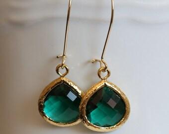 Emerald Green Earrings,Jewelry Gift,Gold Earrings,Diamond Earrings,Gold Earrings, Gold Faceted Earring,Wedding,Bridal, Bridesmaid Gift