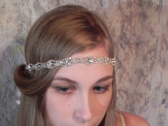1920's RHINESTONE HEADBAND Art Deco Style Wedding Headpiece, Bridal Headband