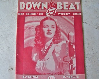 Vintage Jazz Magazine Down Beat Dale Evans 1941 Jazz Bands Radio and Television Big Bands