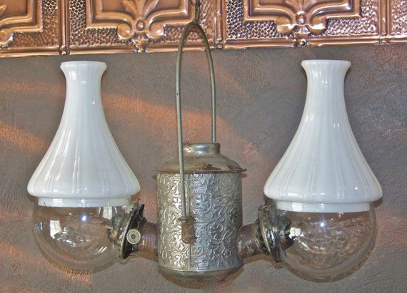Antique Angle Lamp Hanging Oil Lamp Nickel Plated Double Oil