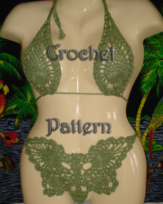 Crochet Pattern butterfly bikini and matching top   instruction and charts in PDF Files.