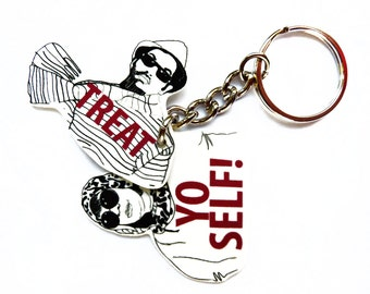 Treat Yo Self Keychain - Treat Yo Self Birthday Gift - Funny Gifts - Pop Culture gift - Quotes - Aziz Ansari - Birthday - Cart - Unique