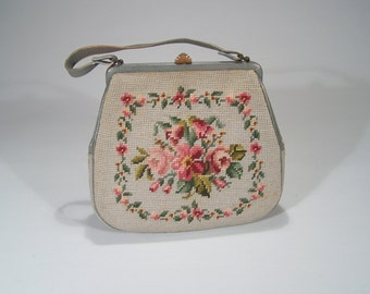 Needlepoint Bag - Light Grey Background with Roses - Leather Trim - Silk Grosgrain Lining