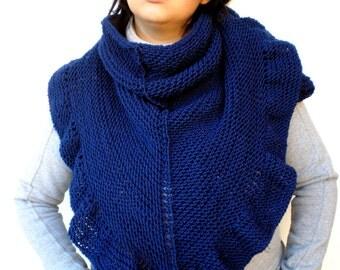 Dark Blue Shawl Hand Knit Triangular Shawl Ruffled Super Soft  Wool Woman Shawl NEW