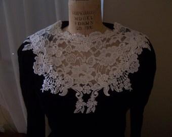 Deco Revival 1930s Style long sleeved black velvet dress 30 inch waist