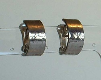 Wide Christian Dior Sillver Plated Huggie Earrings Clip On Style Vintage Jewelry