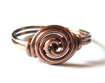 Wire Wrapped Ring Custom Size Antique Copper Rosette Jewelry Gifts under 10