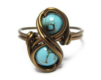 Turquoise Infinity Ring - Custom Size Rings - Wire Wrapped Jewelry