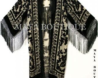 Beige & Black Silk Burnout Velvet Fringes Jacket Kimono Long Coat Maya Matazaro