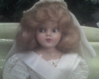 Beautiful Vintage Bride Doll with Open Close Eyes Could Also Be Used As A Cake Topper Wedding Decor Lovely Hand Crocheted Gown Bouquet Veil