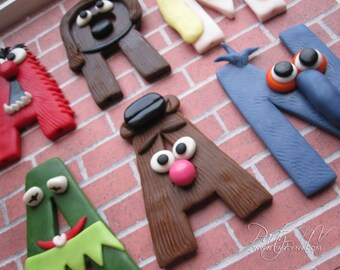 EDIBLE (Fondant Toppers) - Muppet Letters (4 total)