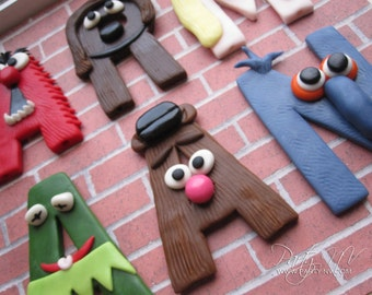 EDIBLE (Fondant Toppers) - Muppet Letters (6 total)