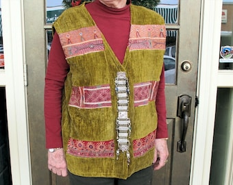 Tribal Velvet Vest with Pashtun Hand Embroidery Patches and Vest Button Attachment from Afghanistan