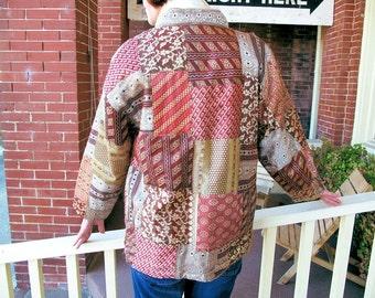 Vintage Organza Jacket with Patchwork Design, Medium Size