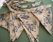 Bunting Flags Garland Banner- Made From Vintage Fabric Blue Roses 13 Flags