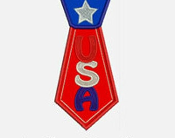 USA Tie...Embroidery Applique Design...Three sizes for multiple hoops...Item1446...INSTANT DOWNLOAD