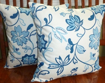 Decorative Pillows,  Accent Pillows, Pillow Covers - Blue and White Floral - Set of Two 18 Inch