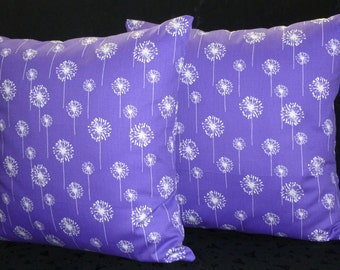 Decorative Accent Pillow Covers - Set of Two 18 Inch - Dark Purple and White Small Dandelion