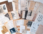 Vintage paper pack for collage, scrapbooking - Ephemera in shades of brown,natural,black,beige,creamy. Drawings,gaphics,patterns,engraving.